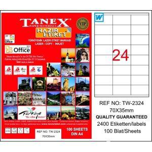 Tanex, TW-2324 Laser Etiket - (70x35) ''