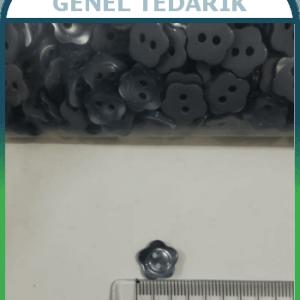 18 Boy 11,5 mm Gri Sedef Çiçek Düğme ~