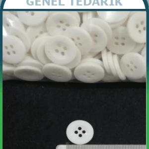 28 Boy 18 mm 4 Delikli Beyaz Düğme ~