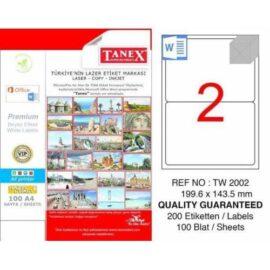 Tanex, TW-2002 Laser Etiket - (199,6x143,5) ''