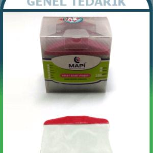 Mapi 9101003, PVC Kırmızı Şeritli Yatay Kart Poşeti - 100'lü'
