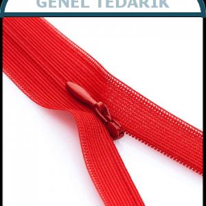 Etek Fermuarı Kırmızı Gizli Diş 20cm - 100 Adet/Paket *