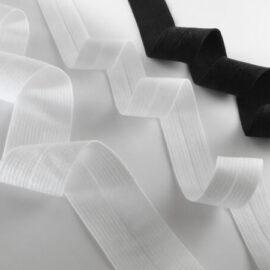 1,5cm Katlanır Lastik Beyaz Parlak Dokuma 1000MT ''