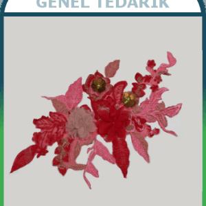 Kırmızı Pullu Çiçek Aplike Dantel (Adet) ~