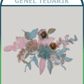 Pembe - Mavi Pullu Çiçek Aplike Dantel (Adet) ~