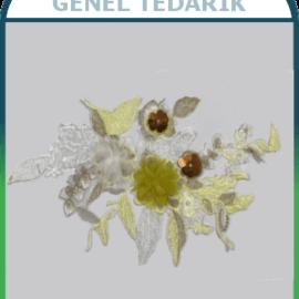 Sarı - Beyaz Pullu Çiçek Aplike Dantel (Adet) ~