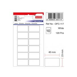 Tanex, Beyaz Etiket 23x40 (120 Adet / Paket) ''